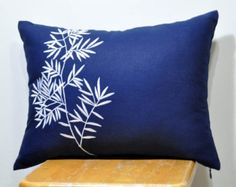 Lumbar Pillow Cover, Decorative Pillow Cover, Dark Blue Linen  pillow, White Bamboo, Embroidered, Asian, Accent Pillow