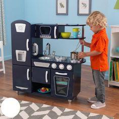 Details About Kids Kitchen Play Set Compsite Wood Blue Boys S Fridge Oven Sink Durable