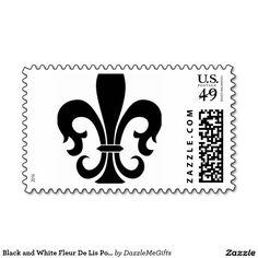Black and White Fleur De Lis Postage Stamp