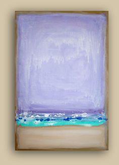 "ABSTRACT ART Simplicity Purple, and Aqua Original Abstract Acrylic Fine Art Painting Shabby Chic 24x36x1.5"" by Ora Birenbaum. $245.00, via Etsy."