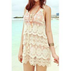 Stylish Scoop Neck Openwork Sleeveless Lace-up Smock For WomenSwimwear   RoseGal.com