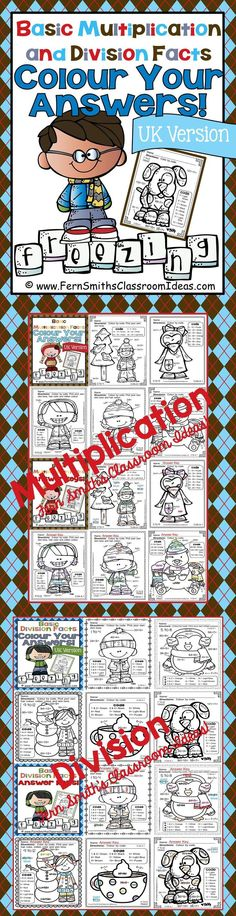 """Winter Fun! Basic Multiplication and Division Facts - UK Version Colour Your Answers Printables Per request, this version has """"colour"""" for """"color"""" and """"grey"""" for """"gray."""" #TPT $Paid"""