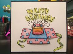 Birthday Card, Pencil crayons & sharpies '17 #cards #birthdaycard Birthday Cards, Happy Birthday, Sharpies, Crayons, Pencil, Art, Bday Cards, Happy Brithday, Art Background
