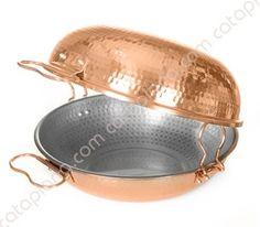 "Copper Hammered Cataplana ""Gourmet"" - Flat Bottom"