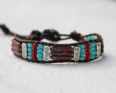 Tribal Leather Bracelet Cuff - Red Picasso Tile Beads, Turquoise, Silver Swirl Beads, Native American Inspired, Boho, Rustic
