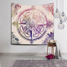 YMQY NEW Bohemian Mandala Tapestry Printed Wall Hanging Wall Decorated Beach Towel wall carpet tapiz pared Bohemian Wall Tapestry, Bohemian Bedspread, Indian Tapestry, Mandala Tapestry, Tapestry Wall Hanging, Wall Tapestries, Mandala Blanket, Textiles, Wall Carpet