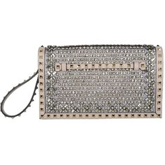 Valentino Flat Embellished Rockstud Clutch (8.895 RON) ❤ liked on Polyvore featuring bags, handbags, clutches, purses, bolsas, valentino, pink, pink clutches, studded leather handbag e studded handbags
