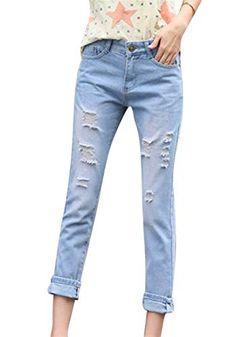 133d270b121a9 Dames Déchiré Trou Denim Chic Fit Pantalon Lâche Jean en Couleur Unie avec  20 Ans Poches