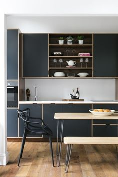 Kitchen Interior Design Remodeling The modern kitchen is by Uncommon Project. - This one bedroom apartment in leafy West London was in a sorry state, but the magnificent Georgian sash windows and high ceilings won over designer Shanade McAllister-Fisher. Small Modern Kitchens, Grey Kitchens, Luxury Kitchens, Modern Kitchen Design, Cool Kitchens, Kitchen Designs, Modern Design, Interior Desing, Home Interior