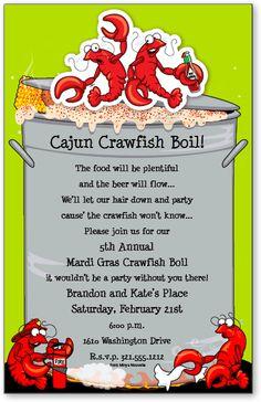 Crawfish Boil Invitations Crab / Crawfish Boil Crawfish Boil Party Invitation A crawfish boil is the perfect Seafood Boil . Crawfish Party, Seafood Boil Party, Cajun Crawfish, Seafood Shop, Hamburger Gravy, Crab Stuffed Shrimp, Ginger Snap Cookies, Invitations, Party Ideas
