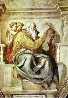 Michelangelo, Detail, Sistine Chapel, The Prophet Zechariah, 1512 Note the hand of the putto in his gesture against the church. Renaissance Kunst, High Renaissance, Renaissance Artists, Catholic Art, Religious Art, Art And Illustration, Michelangelo Paintings, Art Occidental, Biblical Art