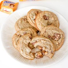 Soft + chewy Peanut Butter Snickers Cookies.