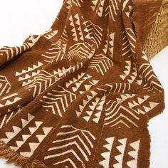 Mud Cloth Pre-Washed Rust color Large Tribal by MorrisseyFabric