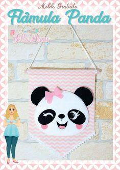 Flamula panda em feltro com molde - Ver e Fazer