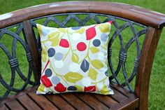 Contemporary geometric floral cushion pillow by ThePurpleStitches, $21.00