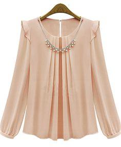 Pink Long Sleeve Rhinestone Loose Chiffon Blouse - Sheinside.com