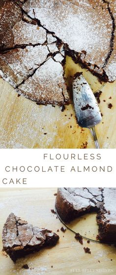 This decadent Flourless Chocolate Almond Cake will wow any chocolate lover. I made it twice in one week! And it's naturally gluten-free. Flowerless Chocolate Cake, Chocolate Almond Cake, Almond Cakes, Gluten Free Chocolate Cake, Chocolate Cakes, Chocolate Recipes, Gluten Free Sweets, Gluten Free Cakes, Gluten Free Baking