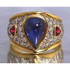 3 carat sapphire, pave, bright natural spinels, as always, a Robert Young original | RobertYoung.com