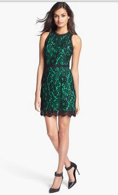 Beautiful blue green lace dress Pop of Color Pinterest