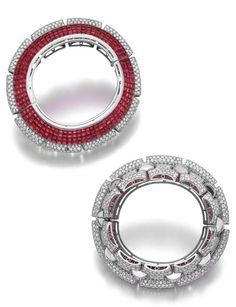 Important ruby and diamond bangle-bracelet, Boucheron, circa 1935    390,000 — 680,000 CHF 418,794 - 730,204USD LOT SOLD. 910,000 CHF (977,185 USD)