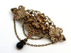 Large Baroque Barrette in bronze black, antique brass hair ornaments, rococo…