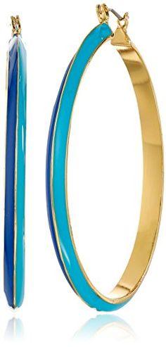 """Trina Turk """"The Explorer"""" Gold Plated Blue Two Tone Enamel Hoop Earrings - http://www.sparklingheaven.com/trina-turk-jewelry/trina-turk-the-explorer-gold-plated-blue-two-tone-enamel-hoop-earrings/"""
