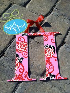 Pi Greek Letter hand painted & inspired in Alpha Omicron Pi Lilly sorority print <3