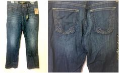 Lucky Brand Womens Jeans NWT Embroidered Pockets 8/29 32 Length Washed Denim #LuckyBrand #StraightLeg