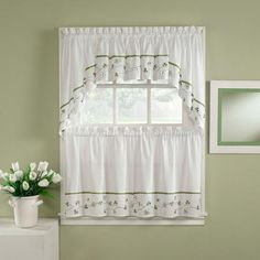 CHF & You Clover Tailored Tier Curtain Panel, Set of 2