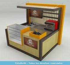 Islas para centro comercial - modulos comerciales - Estudio4d - Bogotá - Colombia Coffee Cafe Interior, Waffle Shop, Small Cafe Design, Bubble Waffle, Food Truck Design, Coffee Bar Home, Kiosk Design, Retail Store Design, Coffee Shop Design