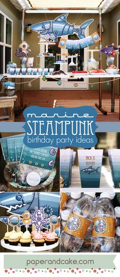 Marine Steampunk birthday party ideas and decorations by paperandcake.com