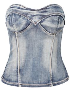Blue Bleached Strapless Slim Denim Top
