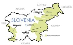 Wines & Regions  Slovenia has three main wine producing regions that comprise a little over 1% of the country, or about 60,000 acres with 40,000 registered vineyards.  Primorje in the west is the main red producing region that gives us luscious wines such as Refošk as well as whites with strong bodies, such as Malvazija.  Posavje in the southern center of the country produces white wines including the autochthonous varietal of Pinela.  Podravje in the eastern region.