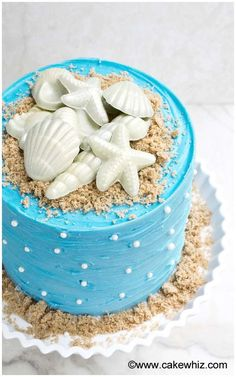 Use this step by step tutorial to make an easy beach cake that& perfect for Summer. It& decorated with homemade chocolate seashells and brown sugar sand. Ocean Birthday Cakes, Ocean Cakes, 4th Birthday, Pretty Cakes, Beautiful Cakes, Amazing Cakes, Beach Themed Cakes, Beach Cakes, Beach Themed Food