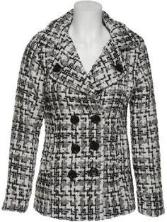 DOLLHOUSE Wool-Blend Bouclé Double Breasted Jacket [6872/ 6872PC], IVORY/BLACK, LARGE dollhouse. $34.99