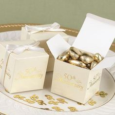 50th Anniversary Favor Box Set - Favors  Decorations - 50th Golden Anniversary - Celebrations