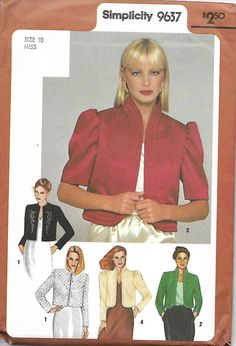 Simplicity 9637 Misses Set Of Bed Or Bolero Evening Jackets Sewing Pattern, Sizes 10 & 12 UNCUT by DawnsDesignBoutique on Etsy