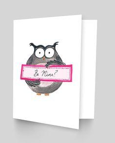 Be Mine Owl Valentine's Day Card