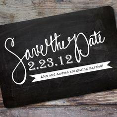 "Save The Date Postcard ""chalkboard"" design. $1.80 USD, via Etsy."