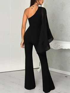 boutiquefeel / One Shoulder Mesh Slit Sleeve Jumpsuits Sophisticated Outfits, Classy Outfits, Chic Outfits, Moda Formal, Romper With Skirt, Gowns Of Elegance, Fall Fashion Outfits, Dress Cuts, Dress To Impress