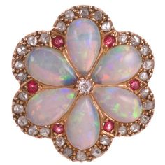 Victorian Opal Ruby Diamond Yellow Gold Flower Pin Pendant | From a unique collection of vintage brooches at https://www.1stdibs.com/jewelry/brooches/brooches/