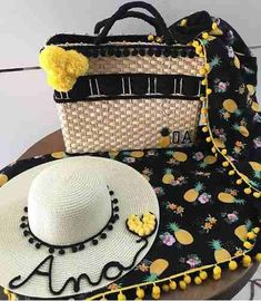 kit chapéu e bolsa de praia personalizado chapéu com nome a93fb364d4b