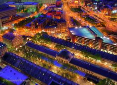Night aerial view of Quincy Market and Faneuil Hall....Boston. credit: Joann Vitali Photography