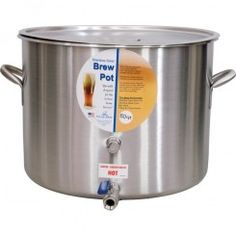"""Baseline 15 gal polarware pot from northern brewer.  $276.99.    American-made brew pot is ideal for all grain brewing or full-volume boils of 10 gallon batches. 18 3/4"""" diameter x 13 3/4"""" high. 18/8 stainless, 1/2"""" ball valve spigot, interior 1/2"""" FPT port, exterior 1/2"""" FPT thermometer port. MPT x Hose Barb not included; try our part P034 or P007. Add a false bottom for use as a mash tun or for boiling with whole leaf hops."""