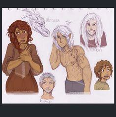 Sorscha, Abraxos, Emrys, Rowan, Manon and Luca