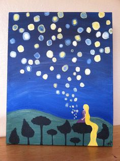 painting Items similar to Rapunzel's lantern painting from Disney's Tangled on Etsy Disney Canvas Paintings, Disney Canvas Art, Small Canvas Art, Easy Canvas Painting, Mini Canvas Art, Disney Art, Diy Painting, Tangled Painting, Toile Disney