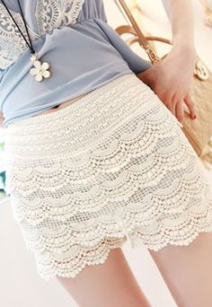 $25.99 USDElasticated Waistband High Waist Crochet Lace Short Pants