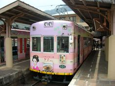 八つ橋のラッピング電車(京都) Yatsuhashi advertising train, Kyoto, Japan