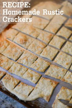 homemade-rustic-crackers-recipe  2 cups flour  2/3 cup water  1/3 cup olive oil  1/2 t salt  1 t baking powder  Egg wash (one egg beaten with 2 T water)  Toppings of your choice