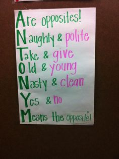 ANTONYM - S: Stop vs. Go ... http://www.julieballew.com/A_Literate_Life/Photos/Pages/Anchor_Charts_files/Media/IMG_4189/IMG_4189.jpg?disposition=download